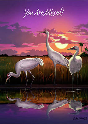 Digital Art - You Are Missed Greeting Card - Whooping Cranes Tropical Sunset by Walt Curlee