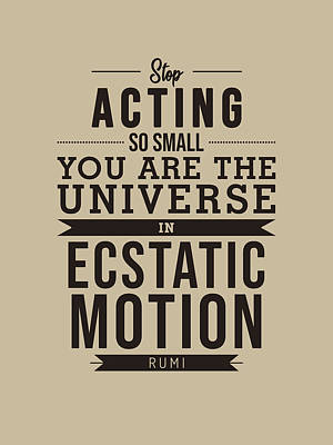 Royalty-Free and Rights-Managed Images - You are the universe - Rumi Quotes - Typography - Retro - Rumi Poster by Studio Grafiikka