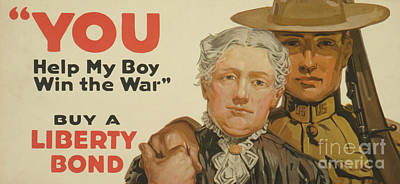 Painting - You, Help My Boy Win The War  Buy A Liberty Bond, 1917 by American School