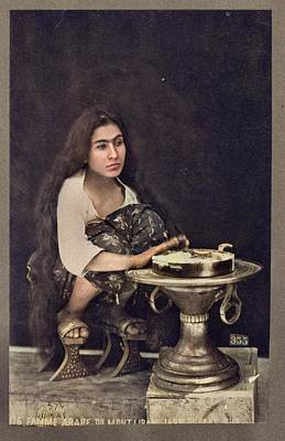 Watercolor Typographic Countries - Young Arab woman c1889 by Tancrede Dumas colorized by Ahmet Asar by Ahmet Asar
