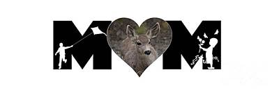 Photograph - Young Doe In Heart With Little Girl And Boy Mom Big Letter by Colleen Cornelius