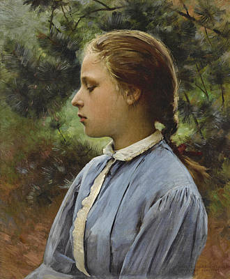 Painting - Young Girl Of Auvers-sur-oise by Charles Sprague Pearce