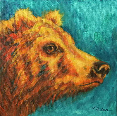 Wall Art - Painting - Young Grizzly In Spring by Theresa Paden