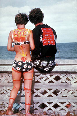 Photograph - Young Hippie Couple, She Bikini Clad And by Lynn Pelham