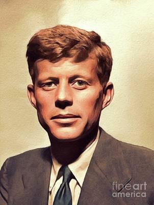Jfk Wall Art - Painting - Young John F. Kennedy by John Springfield