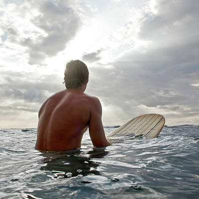 Photograph - Young Man On Surfboard In Water Looking by Siri Stafford