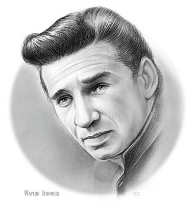 Musicians Drawings Rights Managed Images - Young Waylon Royalty-Free Image by Greg Joens
