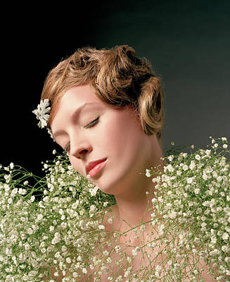 Eyes Closed Photograph - Young Woman Covered In Flowers, Eyes by Frank Schwere