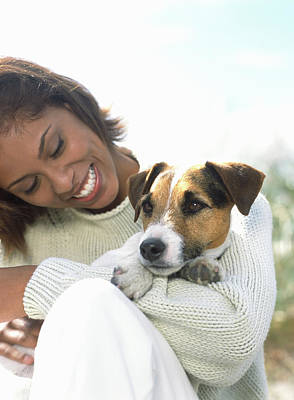 Togetherness Photograph - Young Woman Holding Jack Russell by Todd Pearson