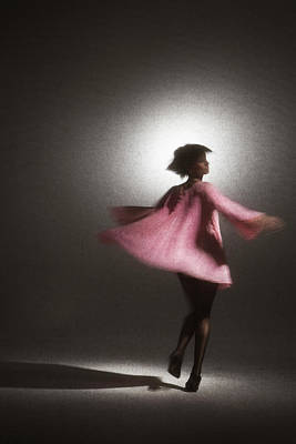 Photograph - Young Woman In Pink Dress Twirling by Siri Stafford