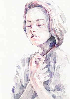 Painting - Young Woman Portrait Abstract Watercolors Painting by Dimitar Hristov
