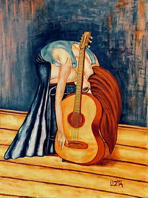 Young Woman With A Guitar Original