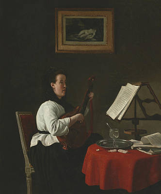 Mandolin Painting - Young Woman With A Mandolin, Portrait Of Louison Kohler by Francois Bonvin