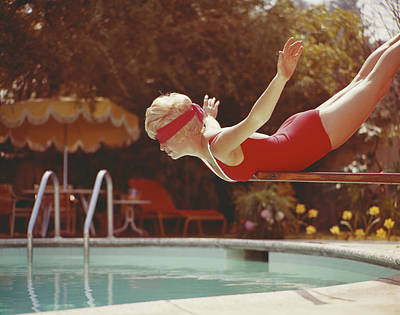 Swimwear Photograph - Young Woman With Blindfold Balancing On by Tom Kelley Archive