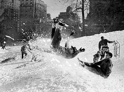 Photograph - Youngsters Sledding In Central Park At by New York Daily News Archive