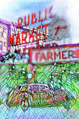 Digital Art - Your Limo Waits At Seattle Farmers Public Market  by Scott Campbell