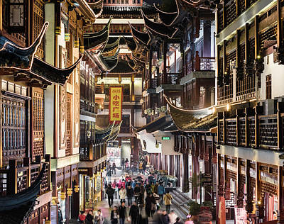 Photograph - Yu Yuan Tea Gardens Bustling With by Martin Puddy