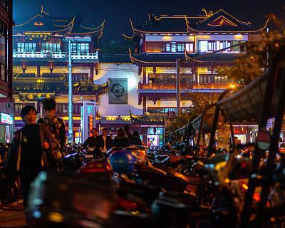 Photograph - Yuyuan Garden, Shanghai At Night by Jeff Lucas