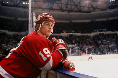 Photograph - Yzerman Watches From The Boards by B Bennett