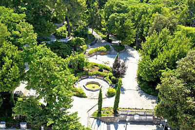 Priska Wettstein Pink Hues - Zadar Five wells square and green park aerial view by Brch Photography