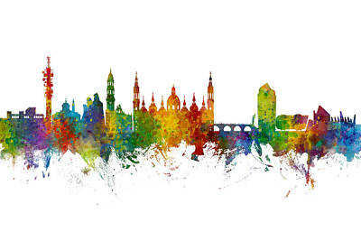 Digital Art - Zaragoza Spain Skyline by Michael Tompsett