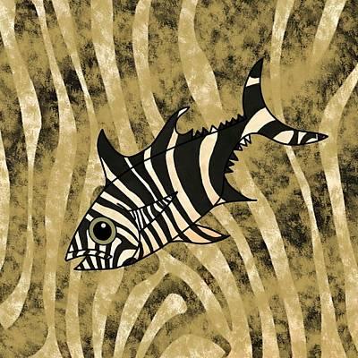 Fish Wall Art - Mixed Media - Zebra Fish 1 by Joan Stratton