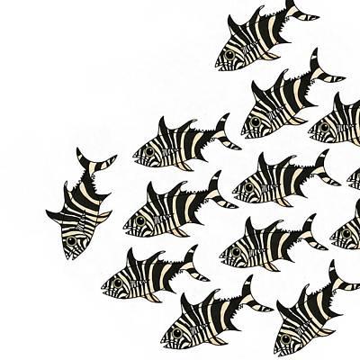 Wall Art - Mixed Media - Zebra Fish 1 Of 4 by Joan Stratton