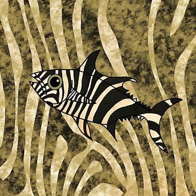 Fish Wall Art - Mixed Media - Zebra Fish 2 by Joan Stratton