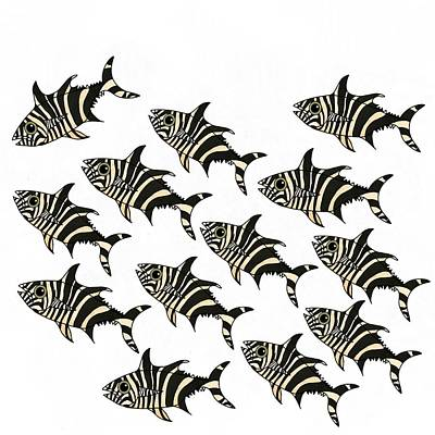 Wall Art - Mixed Media - Zebra Fish 2 Of 4 by Joan Stratton
