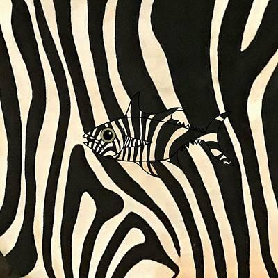 Fish Wall Art - Mixed Media - Zebra Fish 3 by Joan Stratton