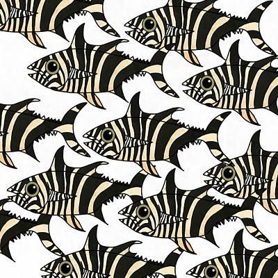 Wall Art - Mixed Media - Zebra Fish 4 by Joan Stratton