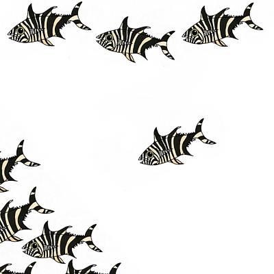 Wall Art - Mixed Media - Zebra Fish 4 Of 4 by Joan Stratton