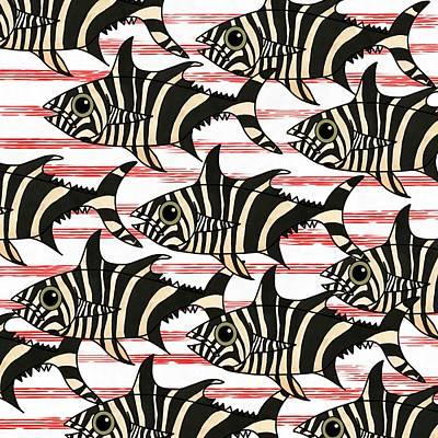 Wall Art - Mixed Media - Zebra Fish 6 by Joan Stratton