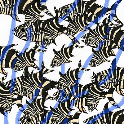 Blue Wall Art - Mixed Media - Zebra Fish 8 by Joan Stratton