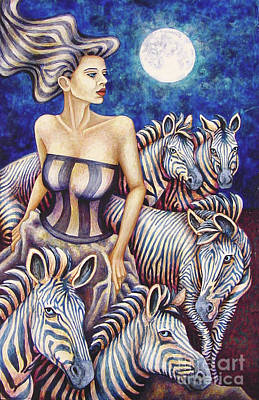 Painting - Zebra Moon by Amy E Fraser