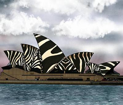 Landscape Wall Art - Mixed Media - Zebra Opera House 1 by Joan Stratton