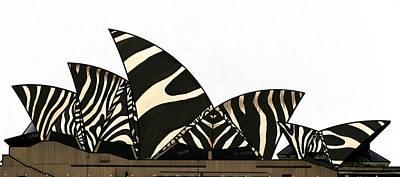 Girl Wall Art - Mixed Media - Zebra Opera House 2 by Joan Stratton