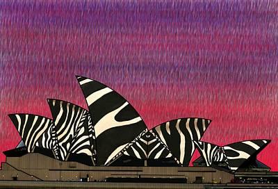 Landscape Wall Art - Mixed Media - Zebra Opera House 3 by Joan Stratton