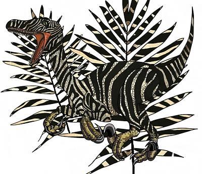 Digital Art - Zebra Raptor In Palms by Joan Stratton