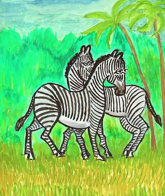Painting - Zebras by Dobrotsvet Art