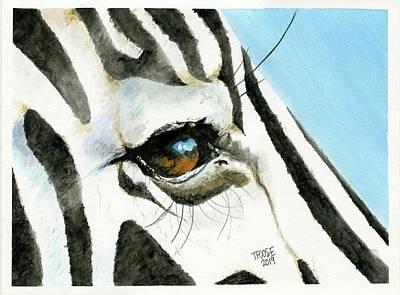 Animals Paintings - Zebras Eye by Taphath Foose