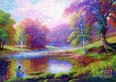 Impressionism Paintings - Zen Garden Meditation by Jane Small