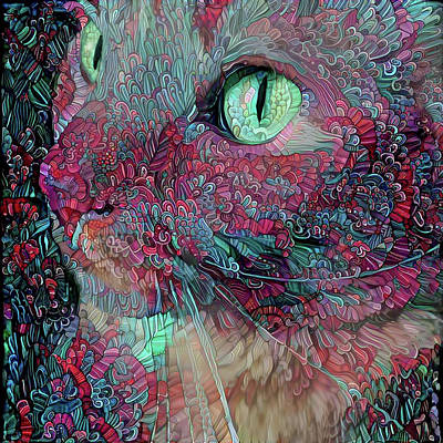 Digital Art - Zen Kitty by Peggy Collins