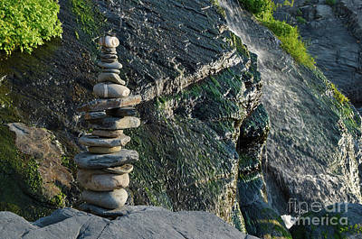 Photograph - Zen Stones And Waterfall by Angelo DeVal