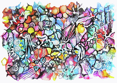 Painting - Zentangle 1 - Alcohol Ink  by Jean Batzell Fitzgerald