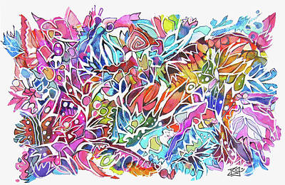 Painting - Zentangle Playground by Jean Batzell Fitzgerald