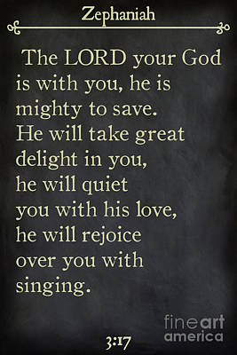 Painting - Zephaniah 3 17- Inspirational Quotes Wall Art Collection by Mark Lawrence