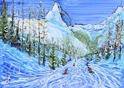 Painting - Zermatt Ski Print by Pete Caswell