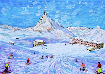 Painting - Zermatt Ski Print Riffelberg by Pete Caswell