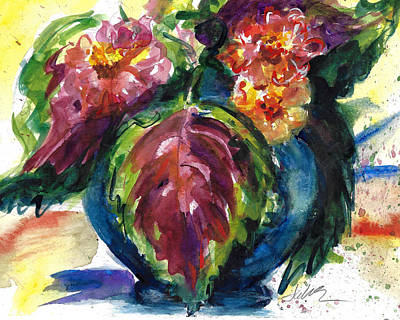 Painting - Zinnias And Coleus Bouquet by Jacki Kellum